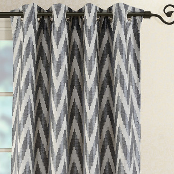 Charcoal/Gray Lisette Chevron Top Grommet Window Curtain- Close Up Image