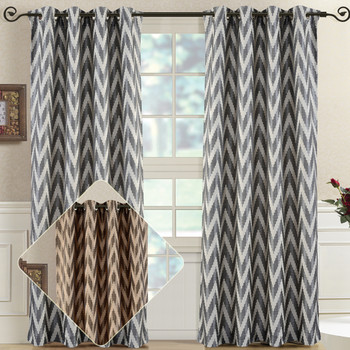 Pair (Set of 2) Lisette Chevron Top Grommet Window Curtain Panels, 108 Inches Total Width
