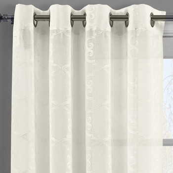 Embroidered Melanie Grommet Top Sheer Curtain Pair (Set of 2 )