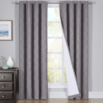 Pair Hilton Blackout Curtains Jacquard Thermal Insulated Set of 2 Panels