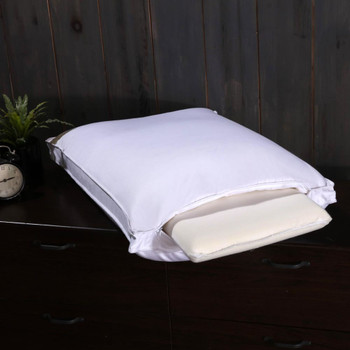 Adjustable Goose Down Pillow 600 Thread Count Cotton Medium-Firm Neck Support