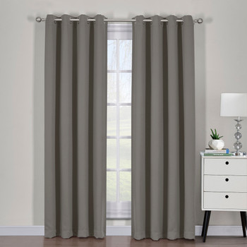 Gray Ava Blackout Weave Grommet Curtain Panels With Tie Backs Pair ( Set of 2)