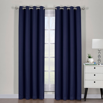 Navy Ava Blackout Weave Curtain Panels With Tie Backs Pair (Set Of 2)