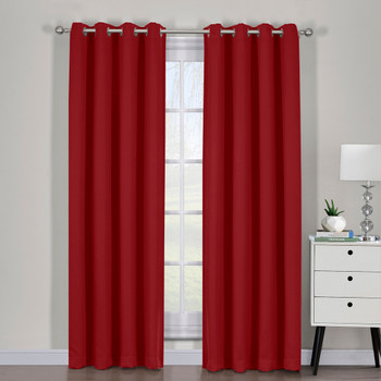 Pair Red Ava Grommet Blackout Weave Curtain Panels With Tie Backs (Set Of 2)
