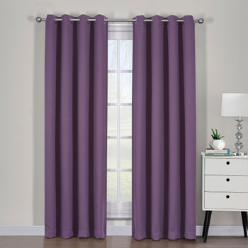Purple Ava Blackout Weave Curtain Panels With Tie Backs Pair (Set Of 2)