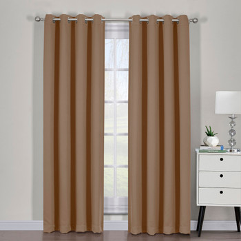 Cappuccino Ava Blackout Weave Curtain Panels With Tie Backs Pair (Set Of 2)
