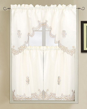 Holland Luxury Embroidered and Hand Cutwork Kitchen Curtain