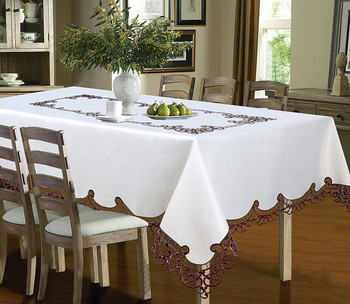 Holland Luxury Embroidered and Hand Cutwork Table cloth, Top Dinner Kitchen Table Cover
