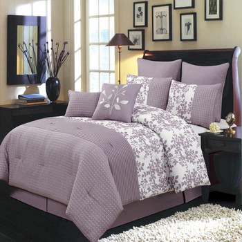 12 Piece Bliss Purple Bed in a Bag Bedding Set