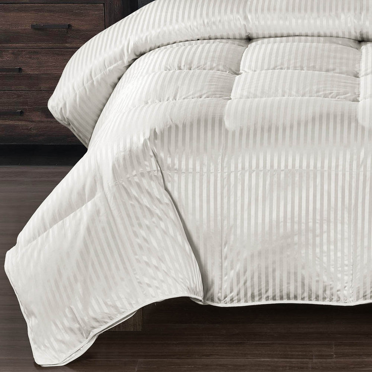Silk 900 Striped Cream Down Comforter Baffle Box Warm Weight