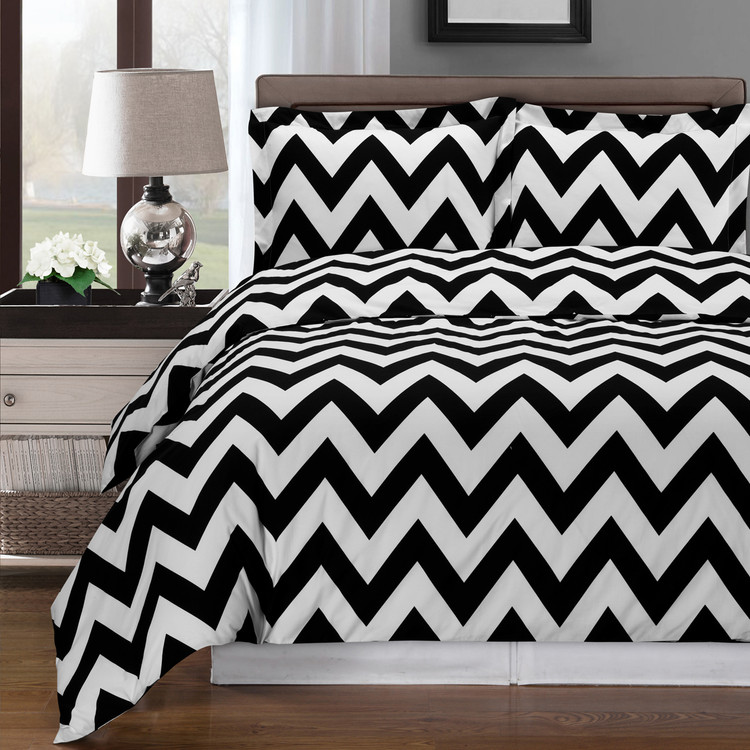 Black/White-Chevron-Combed-Cotton-Duvet-Cover-Set