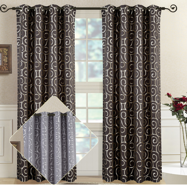 Best Deals On Abstract Tuscany Jacquard Curtain Panels With Grommets