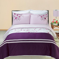 Royal Tradition Cherry Embroidered 3-Piece Duvet Cover Sets or Matching Extra Shams