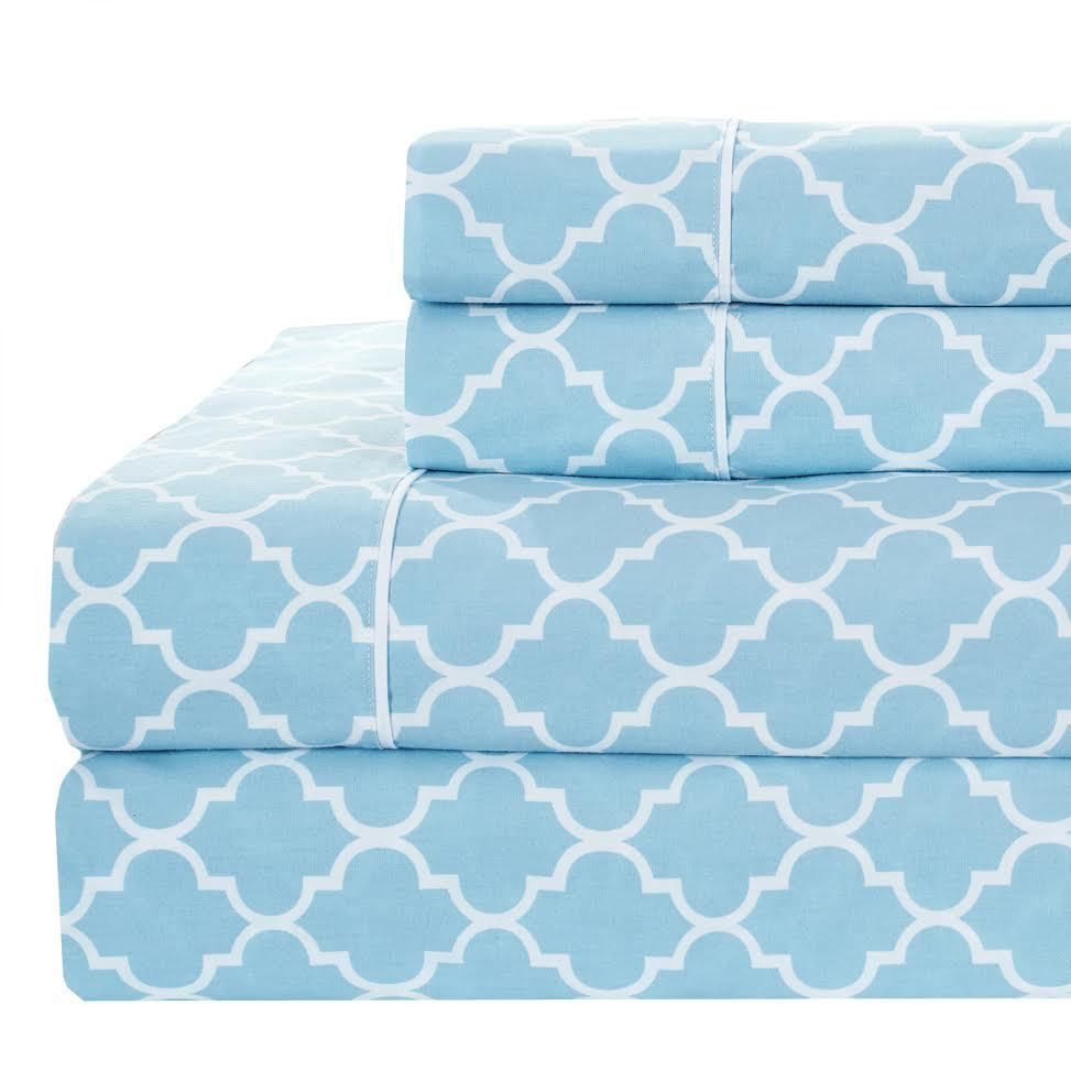 Printed Meridian Split King Adjustable Bed Sheet Sets 100 Cotton