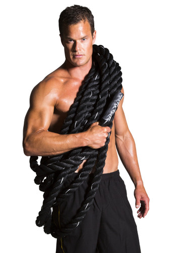 "Black Cyclone 1.5"" Battle Rope By Muscle Ropes"