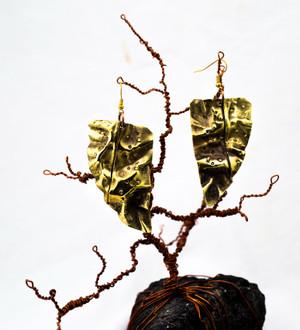 Brass Leaf earring