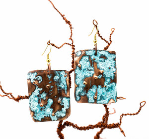 Copper Patina Earring