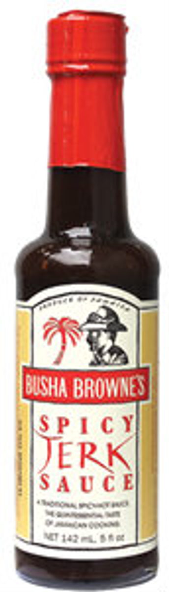 This unique formulation can be used as marinade before cooking, added during cooking, or served at the table.  Each of the collection of spicy sauces is superlative in it's own way. Busha Browne's Original Spicy Jerk Sauce.