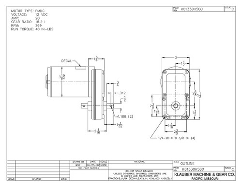 K01330-H500 Klauber Gear Motor (K01330H500)