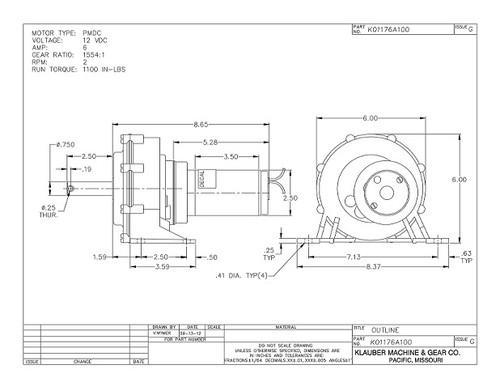 K01176-A100 Klauber Gear Motor (K01176A100)
