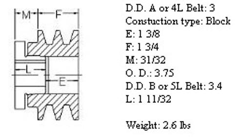 """2MBL37, 3.7"""" Bushing type, A (4L), B (5L and 5V) belts, Browning N"""