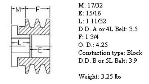 "2MBL42, 4.2"" Bushing type, A (4L), B (5L and"