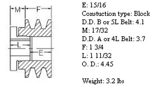 "2MBL44, 4.4"" Bushing type, A (4L), B (5L and 5V) belts"