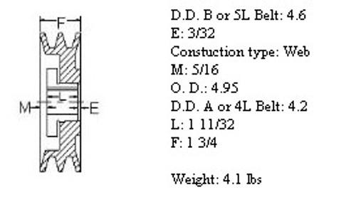 "2MBL49, 4.9"" Bushing type, A (4L), B (5L and 5V) belts"