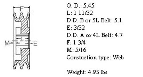 "2MBL54, 5.4"" Bushing type, A (4L), B (5L and 5V) belts"