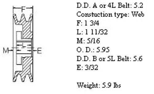 "2MBL59, 5.9"" Bushing type, A (4L), B (5L and 5V) belts"
