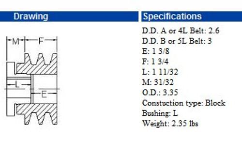 "2MBL33, 3.3"" Bushing type, A (4L), B (5L and 5V) belts, Browni"