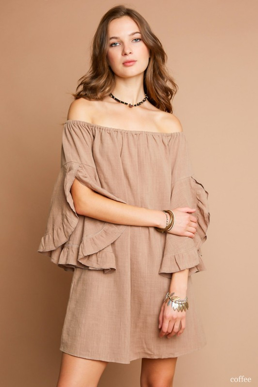 b6dce52e378d COFFEE OFF THE SHOULDER DRESS WITH RUFFLES - Out Of My Kloset Boutique