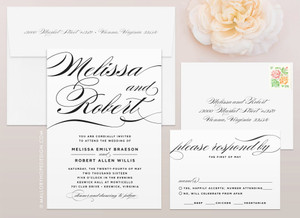 Sophisticated Script Wedding Invitation