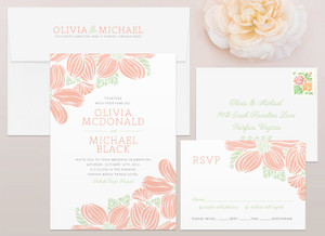 Tropical Flowers Wedding Invitation