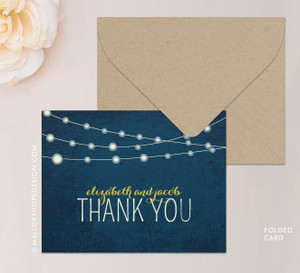 Twinkle Lights Stationery or Thank You Card (folded)