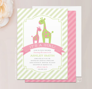 Jungle Giraffe Baby Shower Invitation in Lime and Dusty Rose