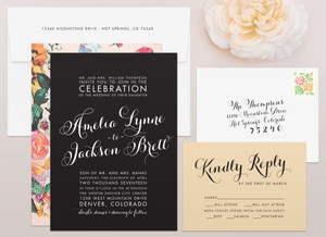 Glam Wedding Invitation with Floral pattern and Champagne RSVP card