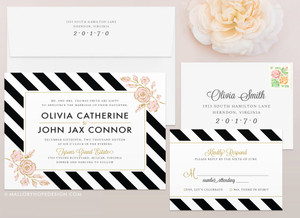 Floral Stripes Wedding Invitation