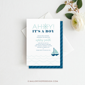 Ahoy It's a Boy Baby Shower Invitation - Aqua