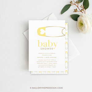 Diaper Pin Baby Shower Invitation - Yellow
