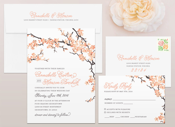 Cherry Blossoms Wedding Invitation (shown with coral accents)