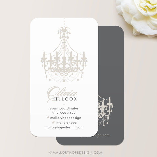 Event planner chandelier business card mallory hope design - Business name for interior design company ...
