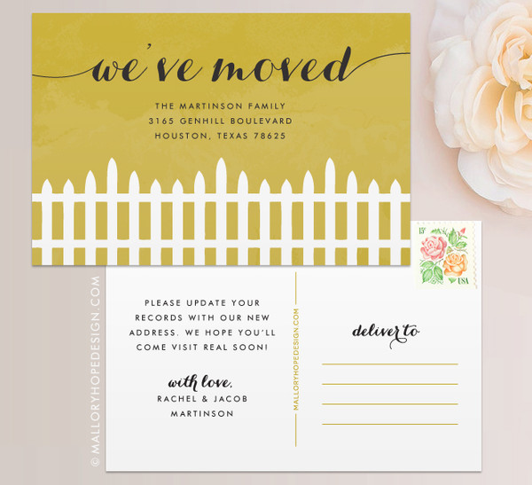 Fence Moving Announcement Postcard or Moving Announcement Magnet in Gold