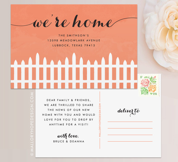 Fence Moving Announcement Postcard or Moving Announcement Magnet in Coral