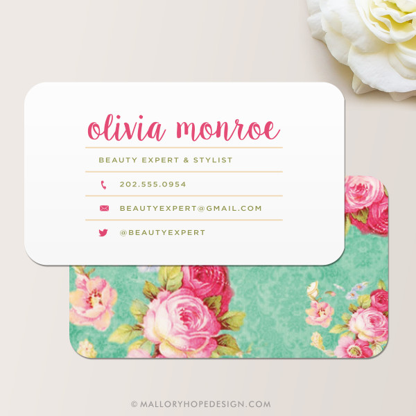 Vintage floral business card mallory hope design vintage floral business card reheart Gallery