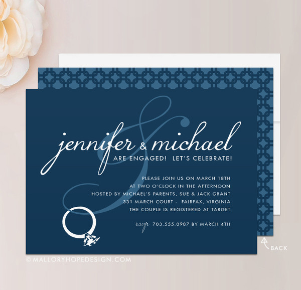 Bling Engagement Party Invitation in White & Navy