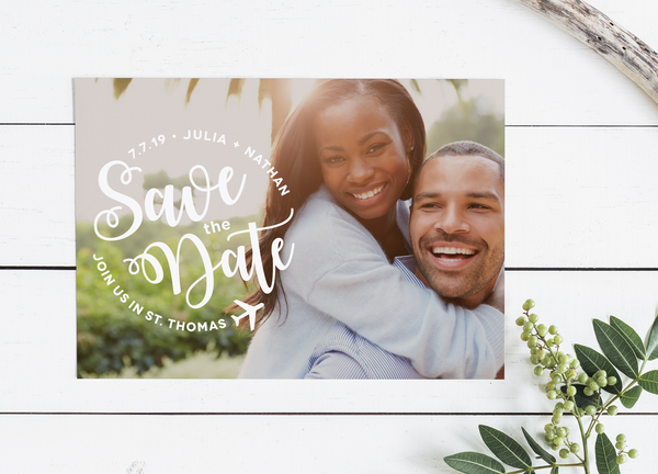 Airplane Photo Save the Date - available as a Save the Date Postcard, Save the Date Magnet, or Save the Date Flat Card with Envelope