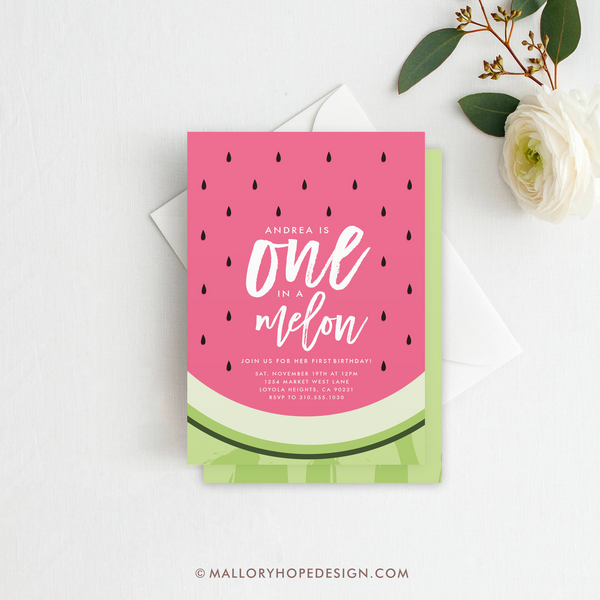 One in a Melon Birthday Invitation, First Birthday Invitation, Watermelon Invitation