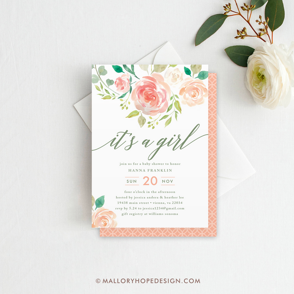 Floral Baby Shower Invitation - It's a Girl!