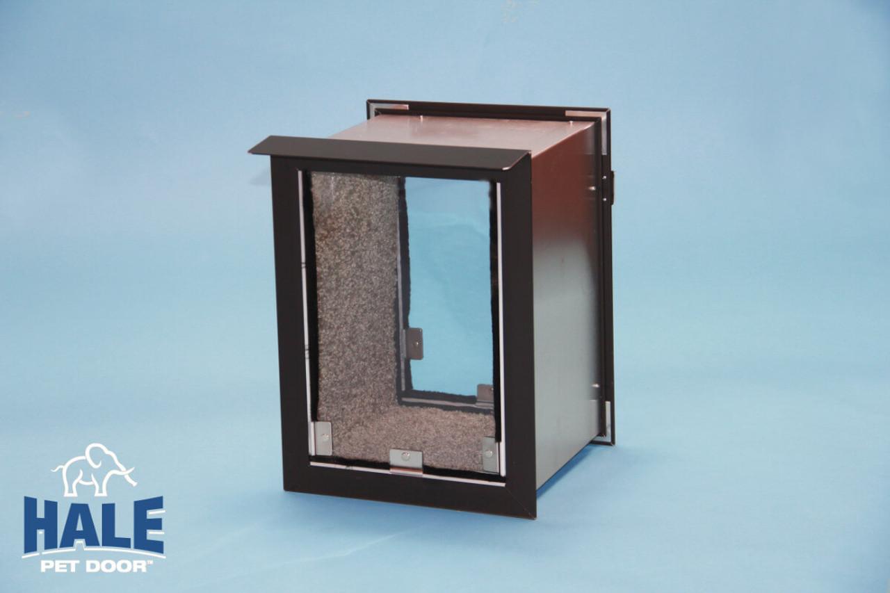 Hale Pet Doors come in bronze (very dark brown) satin (silver) white and arizona beige